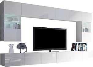 Home Direct Future 38 Wei/ß Modernes Wohnzimmer Wohnwand Wohnschrank Schrankwand M/öbel Mediawand , Led Blau klein C38//HG//W2 1A