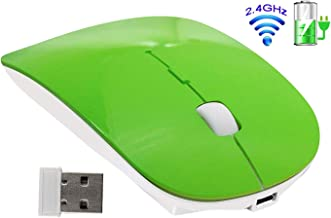 Tsmine Rechargeable 2.4G Slim Wireless Mouse, Optical Mice with USB Nano Receiver(Stored Within The Back of The Mouse) for Notebook, PC, Laptop, Computer, Windows/Android Tablet - Green