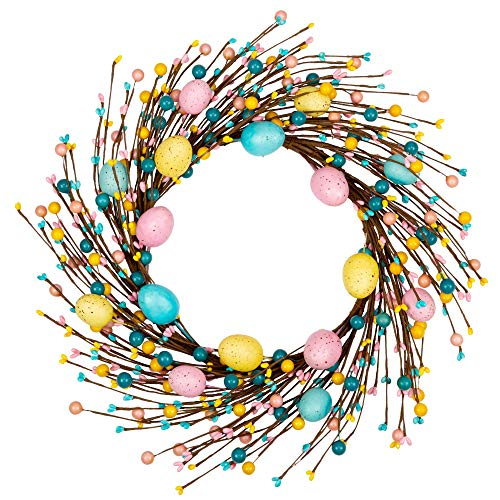 VGIA 18 inch Artificial Easter Wreath with Pastel Eggs Easter Egg Wreath for Front Door with Mixed Berries for Indoor and Outdoor Decorations
