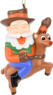 Tree Buddees Cowboy Santa Riding Rudolph Christmas Ornament