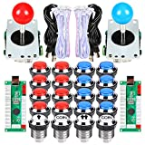 EG STARTS 2 jugadores Classic Arcade Contest DIY Retropie Cabinet Kits USB Encoder para Joystick Juegos de PC + Chrome Plating LED Botón iluminado 1 & 2 Player Botones de monedas para