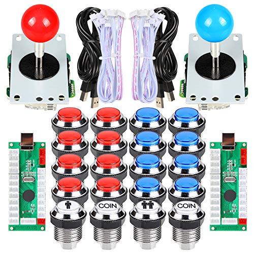 EG STARTS 2 Spieler Arcade Joystick und Tasten Classic Arcade Contest DIY Retropie Schrank Kits USB-Encoder zu Joystick PC-Spiele + Verchromung LED beleuchtet Taste 1 & 2 Spieler Münze Tasten für Mame
