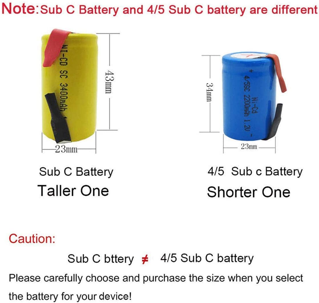 20 Pcs GLESOURCE 4//5 SC NiCd Sub C 1.2V 2200mAh Rechargeable Battery with Tab for Power Tool