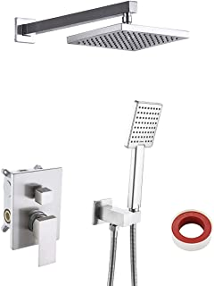 KES Pressure Balancing Shower System Rough-in Shower Valve Faucet and Trim Kit Handheld and Rainfall Shower Head Combo Modern Square Brushed Nickel, XB6223-BN