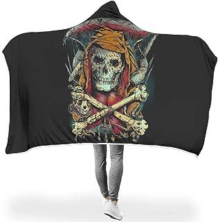 B2QDF-9 Bat Blanket Skull Patterns Printed Micro Fiber Warm Cozy Hood Robe - Scary Big Suitable for Teens Use White 50x60 inch