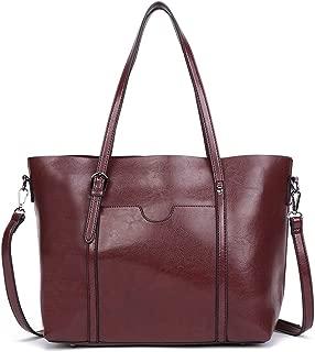 Dreubea Women's Soft Leather Handbag Big Capacity Tote Shoulder Crossbody Bag Upgraded