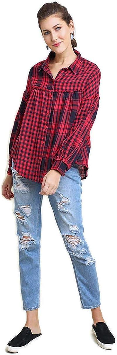 Umgee Women's Plaid & Checkered Light Weight Button Up Tunic Top
