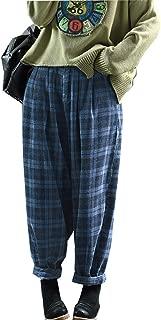 Women's Retro Corduroy Pants Vintage Elastic Waist Loose Fit Trousers Casual Harem