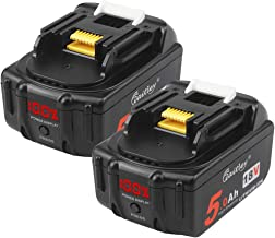 2 Piezas Waitley BL1830 18V 5.0Ah Batería de repuesto para Makita 5000mah BL1840 BL1850 BL1860 Batería con pantalla LED de alimentación
