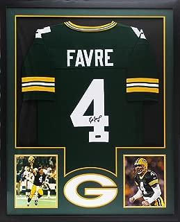 Brett Favre Autographed/Signed Green Bay Framed Custom Green Jersey