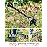 Ymachray 5-Tine Heavy Duty Pitch Fork for Gardening - Long Handled Digging Fork Garden Claw Weeder 14 DURABLE - Loosen, lift and turn garden materials with a durable garden fork featuring advanced ergonomics and a rugged build STAINLESS STEEL HEAD for rust resistance and minimal soil adhesion, extra-long double riveted socket for strength and durability T-HANDLE design eases stress on the hand and wrist