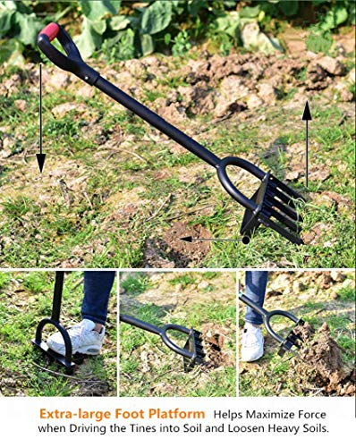 Ymachray 5-Tine Heavy Duty Pitch Fork for Gardening - Long Handled Digging Fork Garden Claw Weeder 4 DURABLE - Loosen, lift and turn garden materials with a durable garden fork featuring advanced ergonomics and a rugged build STAINLESS STEEL HEAD for rust resistance and minimal soil adhesion, extra-long double riveted socket for strength and durability T-HANDLE design eases stress on the hand and wrist