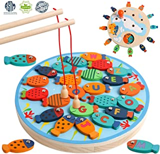 Magnetic Alphabet Letter Wooden Fishing Fine Motor Skill Toy Catching Counting Board Games with Magnet Poles Birthday Learning Preschool Educational Gift for 3 4 5 Year Old Boys Girl Kids Toddlers
