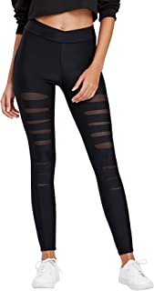 Women's Legging Mesh Insert Ripped Tights Yoga Slim Pants