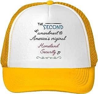 Trucker Hat The Second Amendment America's Original Homeland Security. Polyester Baseball Mesh Cap Snaps Yellow One Size