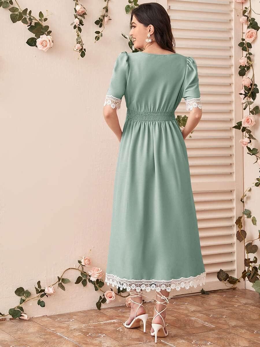 Shreem85 Maternity Dress Contrast Max 62% OFF Lace Sh Branded goods Trim Guipure