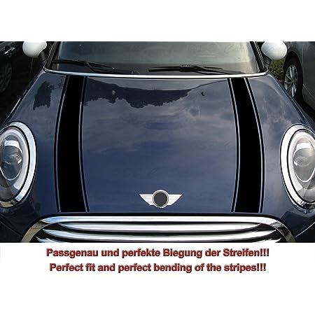 Streifen Stripes Aufkleber Motorhaube Für F55 F56 F57 Mini Cooper Schwarz Design 2 Auto