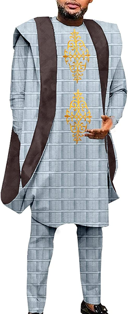 Men's Embroidered Agbada Robe Oversized Jacket Set Shirt and Pants 3-Piece Set