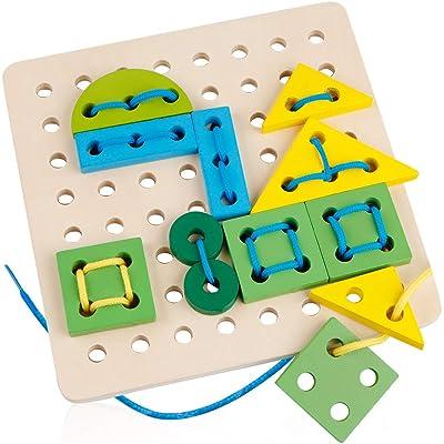 D-FantiX Wooden Lacing Toy, Lace Board Puzzle B...