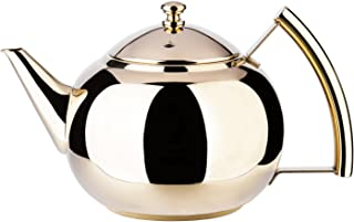 1.5 Liter Teapot Gold Pot with Infuser for Loose Tea Stainless Steel Coffee Kettle 6 Cup Induction Stovetop Tea Pot Strainer Office Hot Water Mirror Finish 1.6 Quart 51 Ounce by Onlycooker