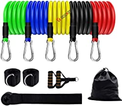 GOCART WITH G LOGO 9 pcs Resistance Band Set - with Door Anchor, Handles, Stackable Up to 80lbs - for Resistance Training, Physical Therapy, Home Workouts