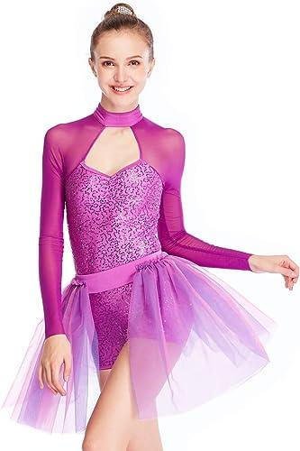 MiDee 2avec Pailletten Haut col Lange Illusion Danse Ballet Manches VêteHommests Robe