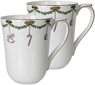 Star Fluted Christmas 11 oz. Mug (Set of 2)