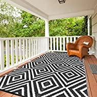 Reversible pp Mats, Plastic Straw Rug, Modern Area Rug, Large Floor Mat and Rug for Outdoors, RV, Patio, Backyard, Deck, Picnic, Beach, Trailer, Camping Sold by Jaynets (Black, 5x8)