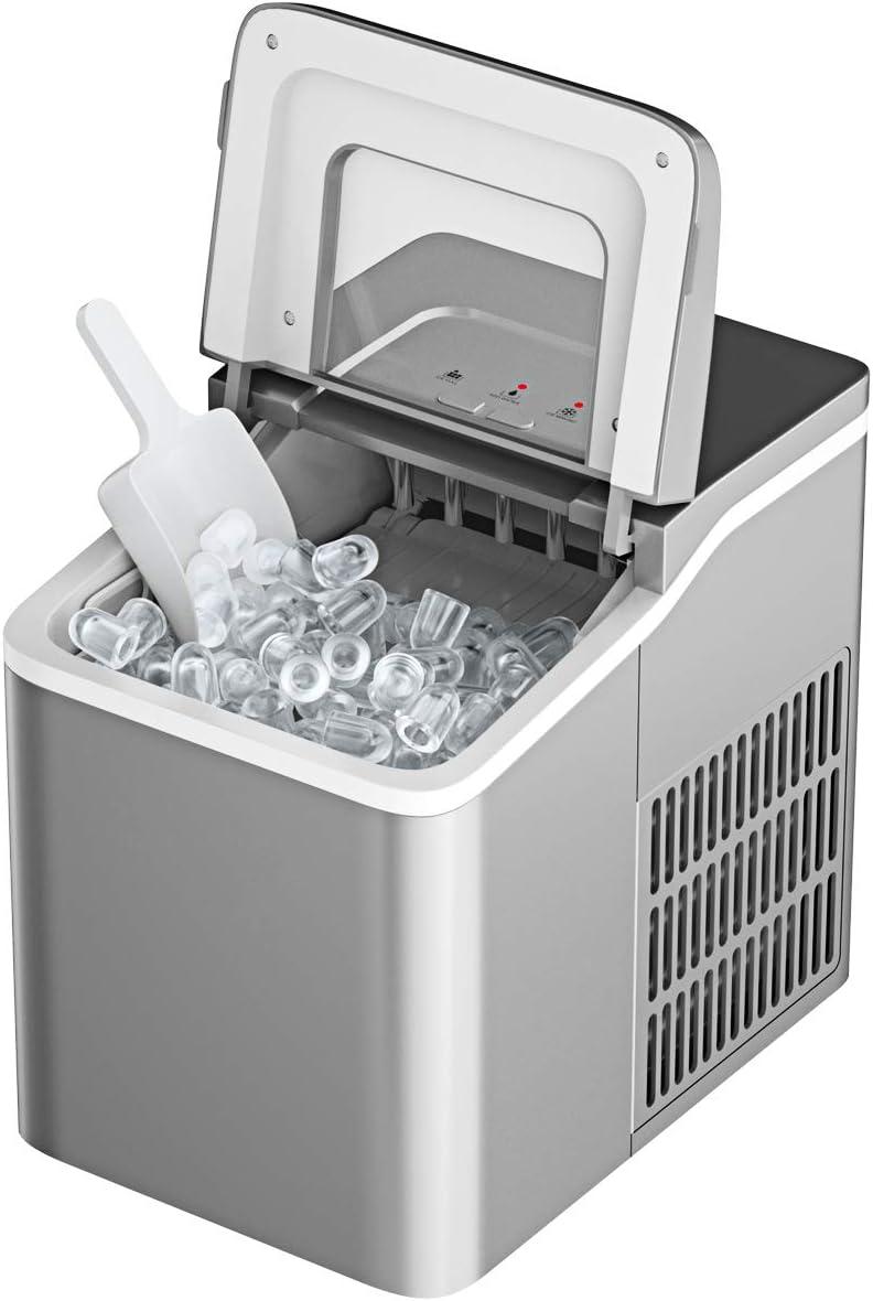 Bar mit LCD-Anzeige f/ür Zuhause Silber 12kg Eisw/ürfel //24h GOPLUS 1,6 L Eisw/ürfelmaschine Eisw/ürfelbereiter mit Produktionszeit von 8 Minuten Selbstreinigungsfunktion inkl Eisw/ürfelschaufel