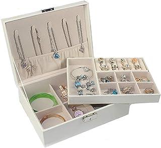 Jewelry Box Women's Travel Jewelry Storage Box Necklace Ring Storage Lock(Beige one Size)