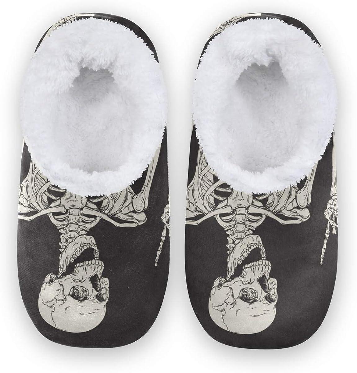 Qmxo Funny Human Skull Black Slippers for Women and Men, Womens Coral Fleece Indoor Slippers House Slippers Socks Fuzzy Feet Slippers Bedroom Slippers Non-Slip