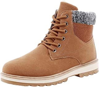 Janjunsi Men Ankle Cotton Shoes - Men's Winter Warm Faux Fur Solid Sole Combat Casual Short Booties Martin High Top Sneaker