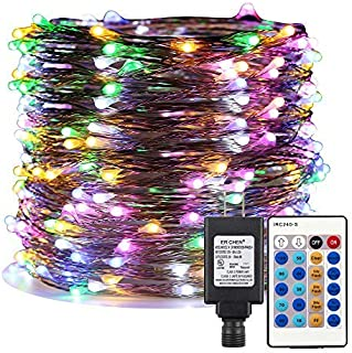 ER CHEN Multicolor LED String Lights Plug in, 99ft 300 LED Long Fairy Lights Dimmable with Remote, Indoor/Outdoor Silver Coated Copper Wire Decorative Lights for Bedroom, Patio, Garden, Yard