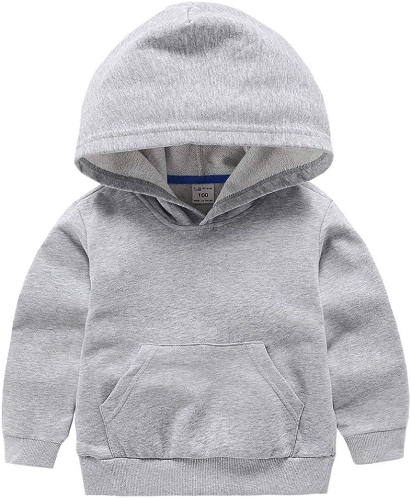 DCUTERQ Boys Girls Hoodies Cotton Basic Pullover Hooded Kids Casual Solid Classic Sweatshirt Pocket Hoodie 2-8 Years