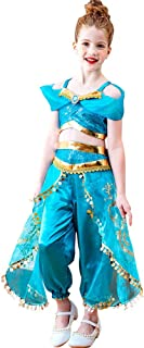 TiCARING Girls Aladdin Princess Costume Jasmine Cosplay Skirt Clothing Top+Pant Party Fancy Belly Dance Dress