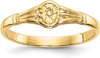 14k Yellow Gold Oval Baby Band Ring Size 2.25 Fine Jewelry Gifts For Women For Her