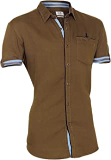 Zorro Shirt for Men – Brown Color Shirt for Men - 100% Cotton Yarn-Dyed Fabric with Softner Washed Shirts – Regular Fit Shirts for Men – Half Sleeve Solid Shirt Shirt for Men