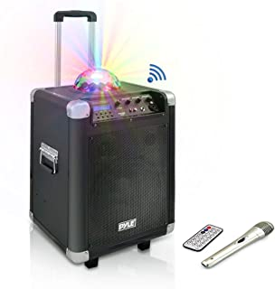 """Pyle Portable Karaoke PA Speaker - Disco Jam System Machine with LED Party Light, 400 Watt Rechargeable Battery, Wireless Headset, Microphone, AM/FM Radio, 10"""" Subwoofer and Bluetooth (PCMX280B)"""