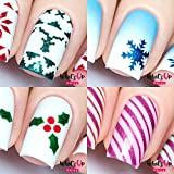 Whats Up Nails - Christmas Nail Vinyl Stencils 4 pack (Wrapping Paper, Holly, Knit Your Own Sweater, Silver Jolly Snowflake) for Nail Art Design