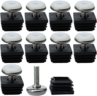 uxcell Leveling Feet 20 x 20mm Square Tube Inserts Kit Furniture Glide Adjustable Leveler for Table Chair Leg 4 Sets