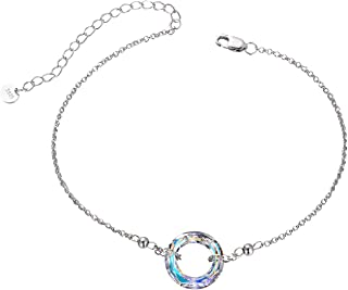 925 Sterling Silver Bracelet with Swarovski Crystal, Dainty Color-Changing Female Friendship Jewelry Gift on Birthday Christmas