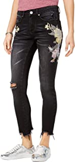 Women's Juniors' Embroidered Ripped Skinny Ankle Jeans Black 5