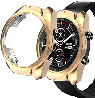 Haojavo Compatible with Ticwatch Pro Case, Slim Fit Ultra Light TPU Protective Case Bumper Shell Cover for Ticwatch Pro Smartwatch Accessories(Rosegold)