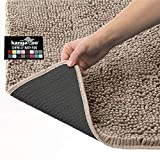 Kangaroo Plush Luxury Chenille Bath Rug, 30x20, Extra Soft and Absorbent Shaggy Bathroom Mat Rugs, Washable, Strong Underside, Plush Carpet Mats for Children's Tub Shower, Bathtub and Bath Room, Beige