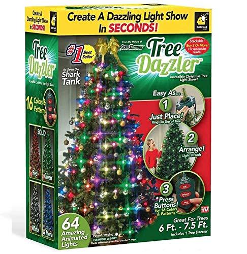 XXGJK Shower Tree Dazzler Multicolor 48/64 LED Garland Christmas String Lights Fairy Light Decoration for Wedding Holidays Christmas Tree Decor,64 Lights