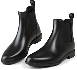 MUSSHOE Rain Boots for Women, Waterproof Chelsea Rubber Boots, Women's Fashion Ankle Booties and Garden boots,5