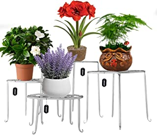 AISHN Metal Plant Stand 4 in 1 Potted Irons Planter Supports Floor Flower Pot Round Rack Display with Scroll Pattern Perfect for Home, Garden, Patio