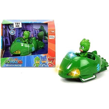 Dickie- PJ Mask Vehículo de juguete con personaje, Color verde (3142001)