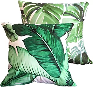 Decorative Outdoor Pillow Covers 18x18 Inch, Home Décor Banana Leaf Tropic Cushion Case for Couch, Sofa, Bed, Patio, Car (NO Inserts) – 2 Packs