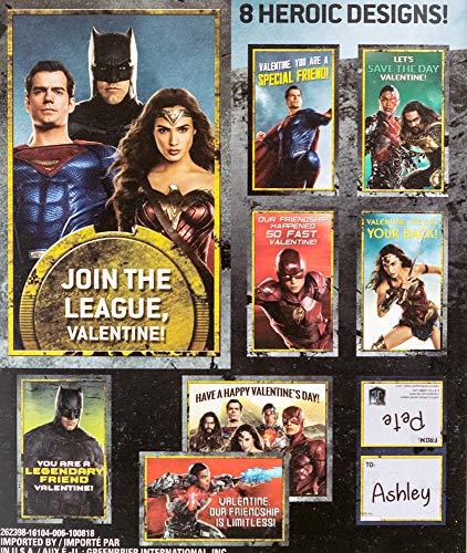 Valentines Day Classroom Exchange Gift | Justice League, Batman Wonder Woman Superman Flash Cyborg | 32 Valentines Teachers Card Included | 8 Fun Design Kids DIY DayCare Homeschooling Sunday School